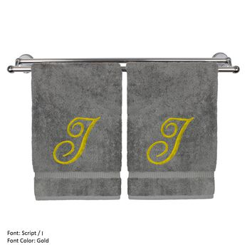 Monogrammed Hand Towel, Personalized Gift, 16 x 30 Inches - Set of 2 - Gold Embroidered Towel - Extra Absorbent 100% Turkish Cotton - Soft Terry Finish - For Bathroom, Kitchen and Spa - Script I Gray