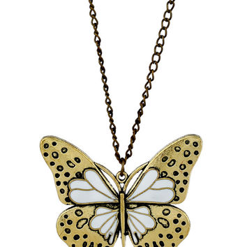 Butterfly Pendant Long Necklace