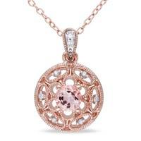5.0mm Morganite and Diamond Accent Scroll Pendant in Rose Rhodium Plated Sterling Silver - View All Necklaces - Zales