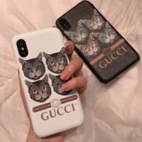 Gucci cat lovers iphone X mobile phone shell iPhone7plus cartoon protective cover 6S hard shell 8P  men and women