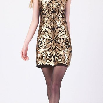 Cintia Gold Sequin Dress