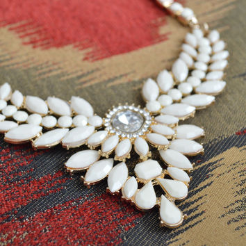Large Chunky Goddess Rhinestone Chest Plate Statement Necklace White Gold Crystal  (Small/Indie Brands)