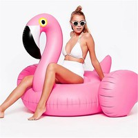 Inflatable Flamingo 150CM 60 Inch Giant Pool Float Pink Ride-On Swimming Ring Adults Children Water Holiday Party Toys Piscina