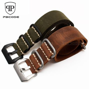 1pc Genuine Leather Watch Straps Crazy Horse Watchband Nato Zulu Watch Strap Band 22mm 24mm ,with Black Buckle, White line