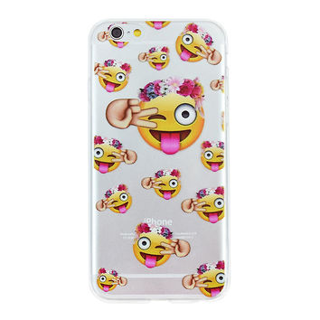 Peace Flower Crown Wink Tongue Emoji Collage Dense Soft Silicone TPU Clear Phone Back Case Cover for iPhone 5 5s 6 6s 7 7 Plus