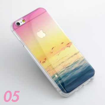 Beach Ocean Scenery Print Soft TPU Transparent Phone Back Case Cover Shell For iPhone 5 5S 6 6s 6 Plus 6s Plus 7