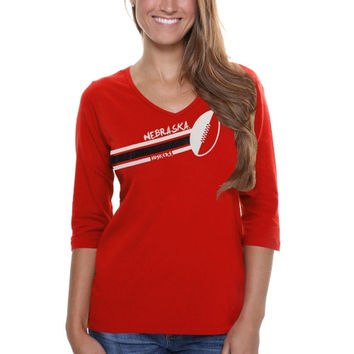 Nebraska Cornhuskers Ladies Football Glitter Half Sleeve V-Neck T-Shirt - Scarlet