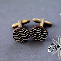 Zigzag chevron  Cuff Linkswood wooden original wedding formal black white geometric