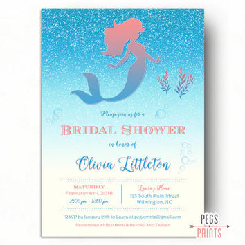 Glitter Mermaid Bridal Shower Invitation (Printable) Under the Sea Bridal Shower Invitation - Fairytale Bridal Shower Invitation - Coral