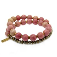 Self Love and Confidence, Rhodochrosite and Pyrite 27 Bead Wrap Mala Bracelet