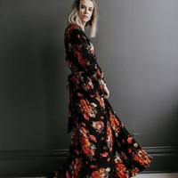 """Meesh"" Solstice Black Floral Wrap Maxi Dress"