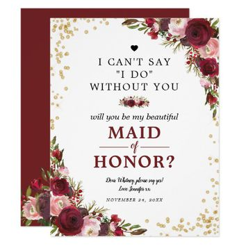 Will you be my Maid of Honor | Burgundy Blush Invitation