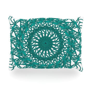 "Patternmuse ""Mandala Spin Jade"" Green Oblong Pillow"