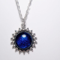 Indigo Plum Sparkle Galaxy Dichroic Pendant Necklace