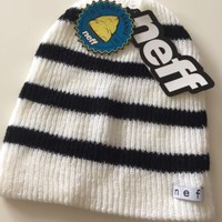 NWT neff Black and White Stripe Daily Beanie