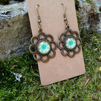 Boho Antique Bronze Dangle Earrings, Mandala Jewelry, Bohemian Jewelry , Gypsy, Hippie Jewelry,  Earthy, Accessories, Abstract Pattern