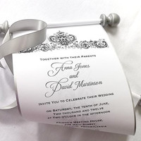 Elegant winter wedding invitation scroll, black and silver damask, bridal shower invitation, medieval castle scroll wedding invitations, 25