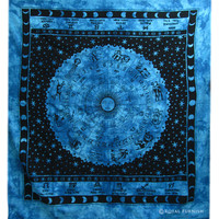 Blue Zodiac Tie Dye Dorm Decor Cotton Tapestry Wall Hanging Bedspread