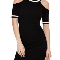 Black Stripe Cutout-Shoulder Bodycon Dress