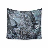 "Marianna Tankelevich ""Ice Space Geometry"" Blue Gray Digital Wall Tapestry"