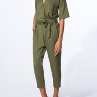 Casual Surplice Single Button Removable Tie Plain Jumpsuits