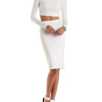 Long Sleeve Crop Top & Midi Skirt Hook-Up by Charlotte Russe - Ivory