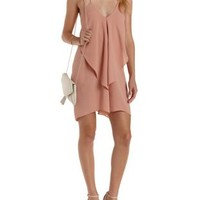Mauve Chain Strap Cascade Shift Dress by Charlotte Russe