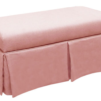 "Hayworth 38"" Skirted Storage Bench, Pink, Entryway Bench"