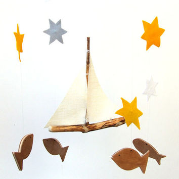 Baby Mobile - Sailboat Mobile - Baby boy mobile -  ship mobile - fish baby mobile - Nautical Nursery