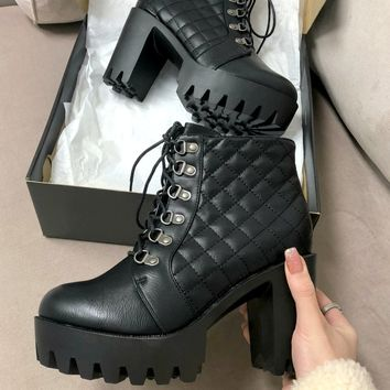 Complete Me Black Quilted Chunky Platform Booties