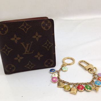 Auth LOUIS VUITTON Monogram Bifold Wallet & Key Holder Charm 2 set 8F130850F