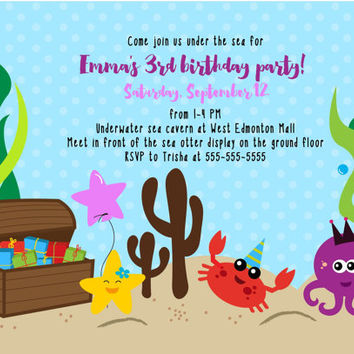 Under the sea printable birthday invitation / nautical birthday invitation / ocean birthday party invitation / boy birthday / girl birthday