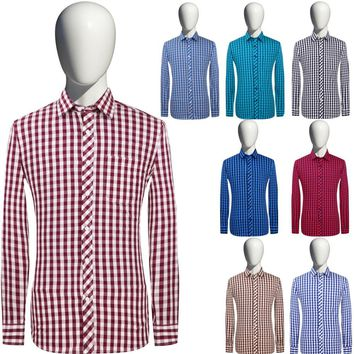 New Men's Plaid Long-sleeved Smart Casual Cotton Dress Shirt Slim Fit Chemise Home Social Masculine Fashion Comfortable