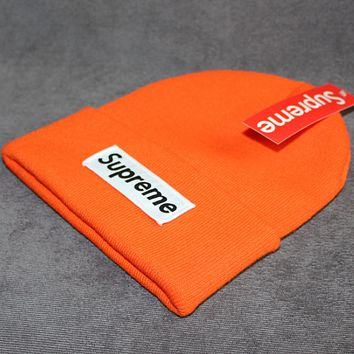 Supreme warm winter hat patch letters wool cap Orange
