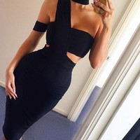 Fashion knee length bodycon evening party dress