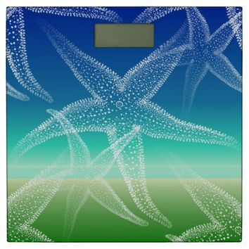 Starfish Blue Green Beach Bathroom Scale