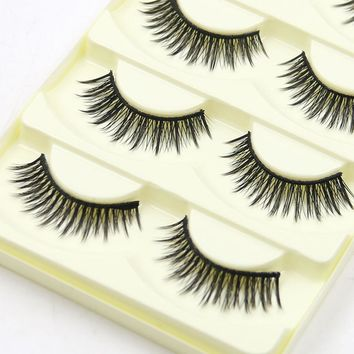 5 Pairs Cotton Infarction Cross Long Makeup Pure Handmade False Eyelashes Black