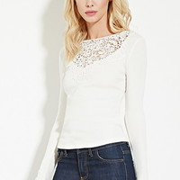 Crocheted Ribbed Knit Top
