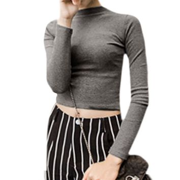 Women Mock Neck Long Sleeve Stretchy Crop Knit Top Gray XS - Walmart.com