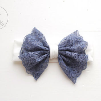 Baby Bow Headband, TEAL BLUE Bow Headband, White Toddler Headband, Shabby Chic Bow Headband