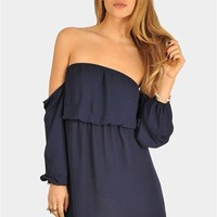 Perfection Off The Shoulder Dress - Navy at Necessary Clothing