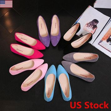 US Women Pointed Toe Flat Shoes Ballet Dress Soft Soled Loafers Casual Slip On
