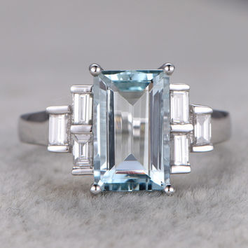 Aquamarine and Diamond Ring 11x6mm Emerald Cut Engagement Ring 14k White Gold Baguette Cut