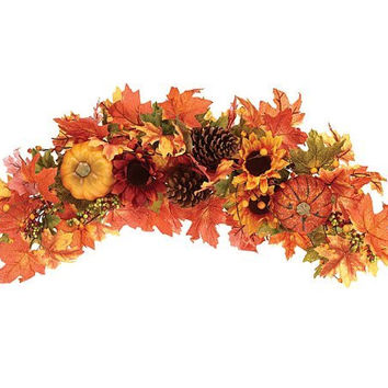 "Beautiful 23"" Autumn/Fall Swag Wreath with Pumpkin, Sunflower and Berry Accents"