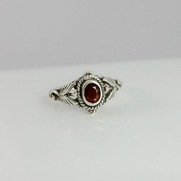 Red Garnet and Silver Ring Size 5 - Silver Ring with Red Gemstone - Sterling Silver & Red Stone Ring - Size 5 Ring