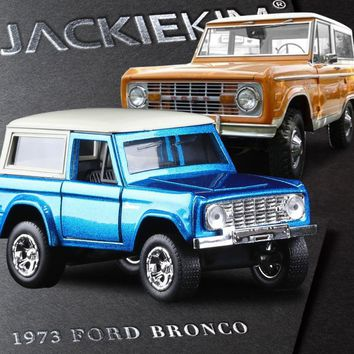 High simulation 1:32 Scale JADA 1973 Ford  BRONCO Blue Orange Alloy Model Car Toy For Baby Gifts Free Shipping