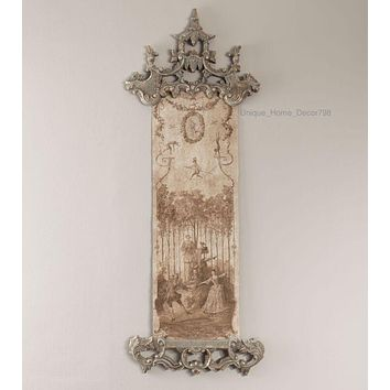 New French Chinoiserie Tapestry Wall Hanging, Art Rococo Toile Garden Scene 83""
