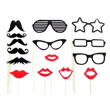 15pcs Funny Creative Wedding Photo Props on a Stick Beard Mustache Glasses Lips Star Photo Booth Posing Props for Party Wedding Decoration