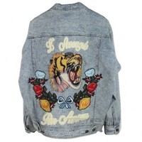 Indie Designs Gucci Inspired Floral & Tiger Embroidered Denim Jacket