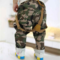 new arrival 2014 baby boy harem pants toddler bib pants camouflage trousers casual 7M-24M